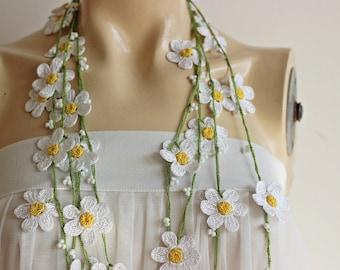 White Daisy Necklace-Crochet Necklace-Turkish Oya necklace-Lariat Necklace - Flower Necklace