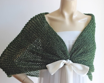 Dark  Green Cape/Green Bridal Cape Wedding Wrap Shrug Bolero/Glitter Hand Knit Mohair Cape Ready to ship