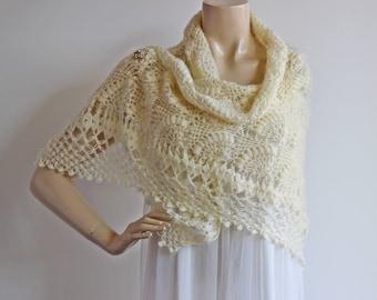 Cream Bridal Shawl/Winter Wedding, Crochet Shawl,Bridal Cover Up,Wedding Shawl-Lace Mohair Shawl-Triangle Shawl-Lace Shawl-Lace Winter Shawl