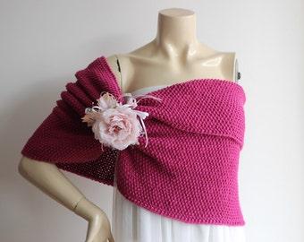 Fuchsia  Bridal Capelet / Dark Fuchsia  Wedding Wrap Shrug Bolero/Hand Knit  Shawl with Pin  -Pink Shoulder Cover -Vegan Shawl