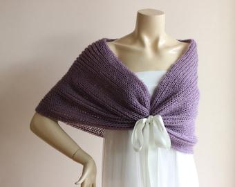 Light Purple Cape/Purple Bridal Cape Wedding Wrap Shrug Bolero/Hand Knit Mohair-Ready to ship
