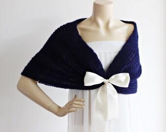 Navy  Bridal Cape / Wedding Wrap Shrug Bolero/Hand Knit Mohair Wool  Cape-Navy Glitter Cape-Ready to Ship