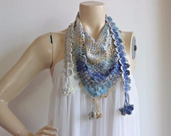 Pastel Triangle scarf-Wool Crochet Neckwarmer-Blue,Gamel,Grey,Ivory scarf