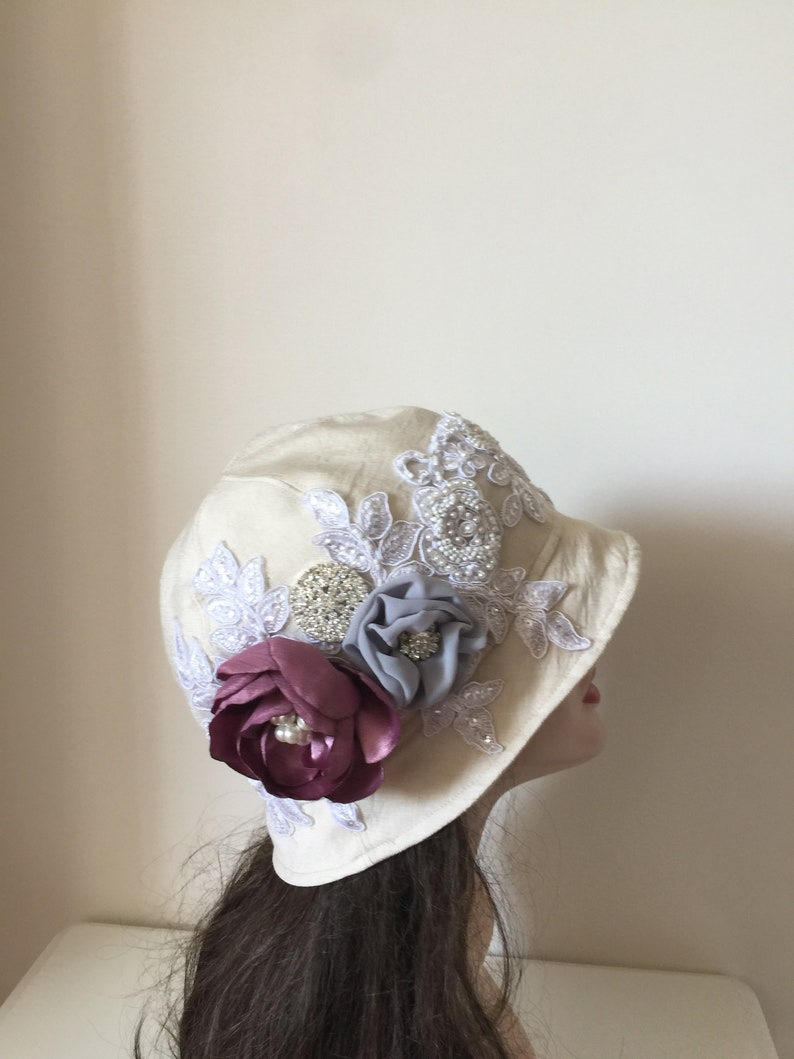 Mother of Bride Hat-Ivory Flower Hat-Tea Party Hat White Downton Abbey 1920/'s Hats Formal Cloche Cap-Summer ivory Hat-Special Occasion Hat