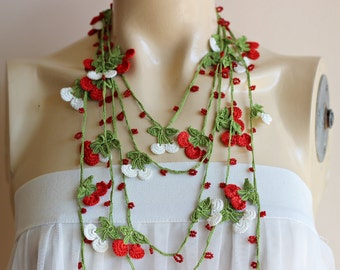 Cherry Necklace-Cherry Crochet Necklace-Turkish Oya necklace-Red and White Necklace-Lariat Necklace -Spring Scarf