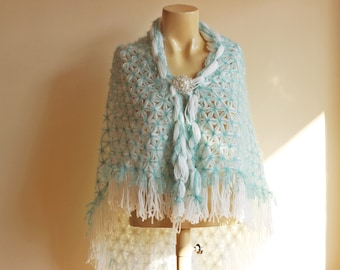 White and Mint Bridal Shawl/ Wedding Wrap Shrug Shawl with Brooch-Handwoven with pin