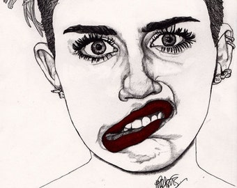 Miley with Red Lips - Original Signed Paul Nelson-Esch Drawing Art pencil Illustration fashion cyrus dance pop music