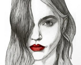 Sasha with Red Lips - Original Drawing Art Illustration Paul Nelson-Esch Fashion Home Decor Pencil Modern