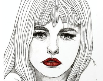 Patsy with Red Lips - Original Drawing Art Illustration Paul Nelson-Esch Fashion Home Decor Pencil Modern