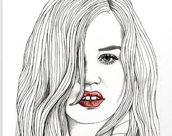 Georgia with Red Lips - Original Drawing Art Illustration Paul Nelson-Esch Fashion Home Decor Pencil Modern