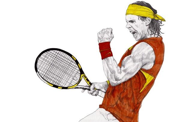 Tennis Rafael Nadal Drawing Art Illustration Fashion Etsy