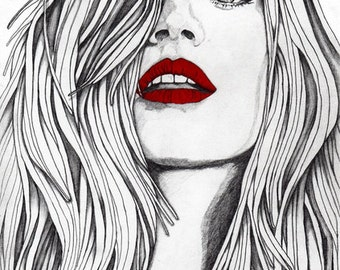 Girl with the Red Lips - Original Signed Paul Nelson-Esch Drawing Art Pencil Illustration Fashion Home Decor Decoration House Interior Xmas