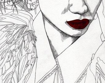 China Girl - Original Paul Nelson-Esch Drawing Art pencil Illustration fashion portrait black white lips original