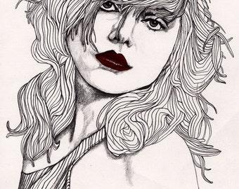 Debbie with Red Lips - Original A4 Signed Paul Nelson-Esch Drawing Art Pencil Illustration Portrait Retro Fashion Home Decor Harry Blondie
