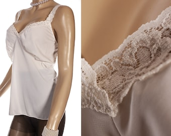 9e08506965f Gorgeous  Cabernet  XXL incredibly silky soft pretty ivory nylon and  delicate matching stretch lace detail 1980 s vintage camisole - PL2256