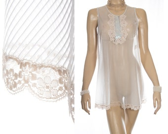 Incredibly sheer 'Gossard Artemis' pale aqua self stripe nylon and contrasting ecru lace detail 60's vintage Baby Doll nightgown - PL2001