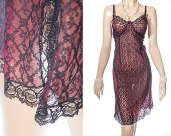 Stunning 50's vintage double layer really sheer soft burgundy nylon and contrasting sexy black lace overlay full slip underskirt - PL1914