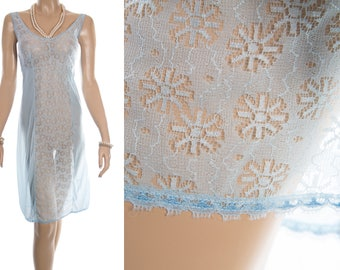 XXL plus size incredibly sheer silky soft powder blue nylon and delicate lace front panel detail 1980's vintage full slip petticoat - PL1816