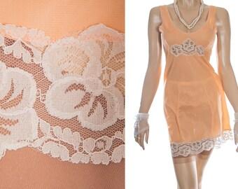 Elegant 'Jitex' sheer silky soft warm apricot nylon and delicate ecru floral design lace detail 1970's vintage slip petticoat - PL1897