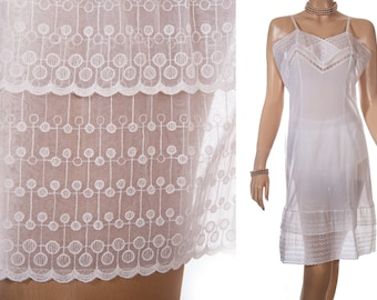 Delightfully feminine really sheer soft ivory white nylon and matching embroidered paper nylon lace detail 1950's vintage full slip - PL1449