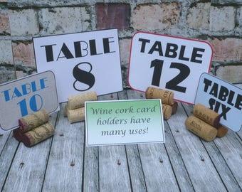 Wine Cork Table Number Card Holders  Set of 5
