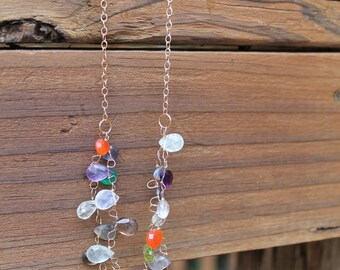 colorful double strand semiprecious stone necklace