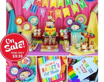Art Birthday Party   Art Party   Art Birthday Decorations   Art Party Printables   Artist Party   Rainbow Birthday   Amanda's Parties To Go