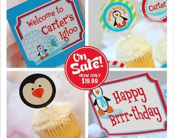 Winter ONEderland Decorations | Winter Onederland Party | Winter Onederland Birthday | Penguin Printable Decorations | Amandas Parties To Go