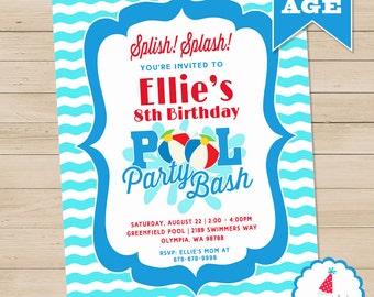 12 x Pool Party Invitations Shark Swimming Pool Kids Childrens BirthdayH0403