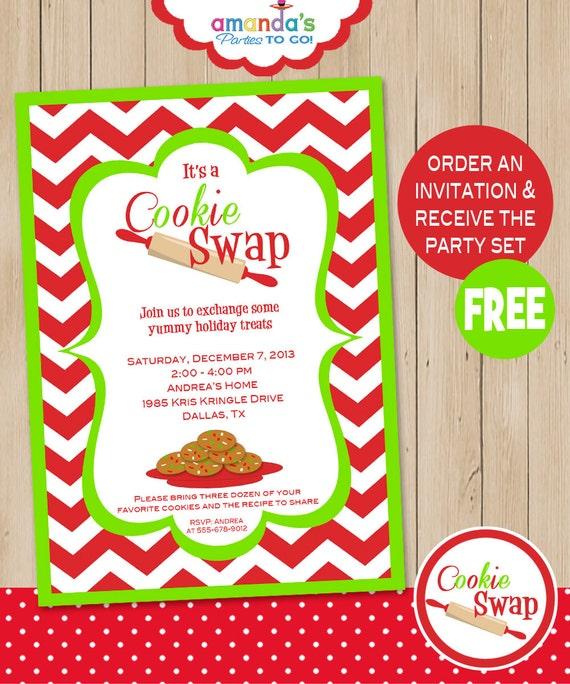 Cookie Swap Party Invitation Includes Free Instant Download Party Set Cookie Exchange Christmas Set By Amanda S Parties To Go