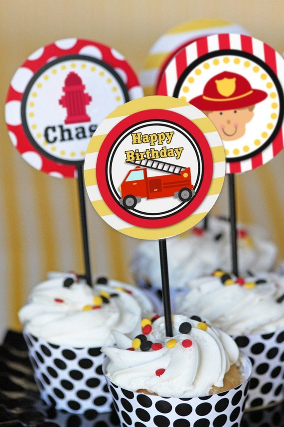 Firetruck Party Firetruck Birthday Cupcake Topper Firetruck