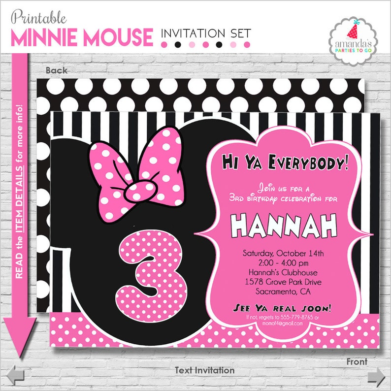 Minnie Mouse Birthday Invitation Printable