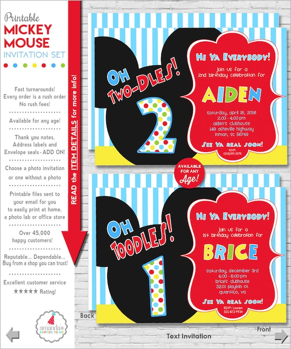 graphic about Mickey Mouse Printable Birthday Invitations named Mickey Mouse Invitation Mickey Mouse Birthday Invitation