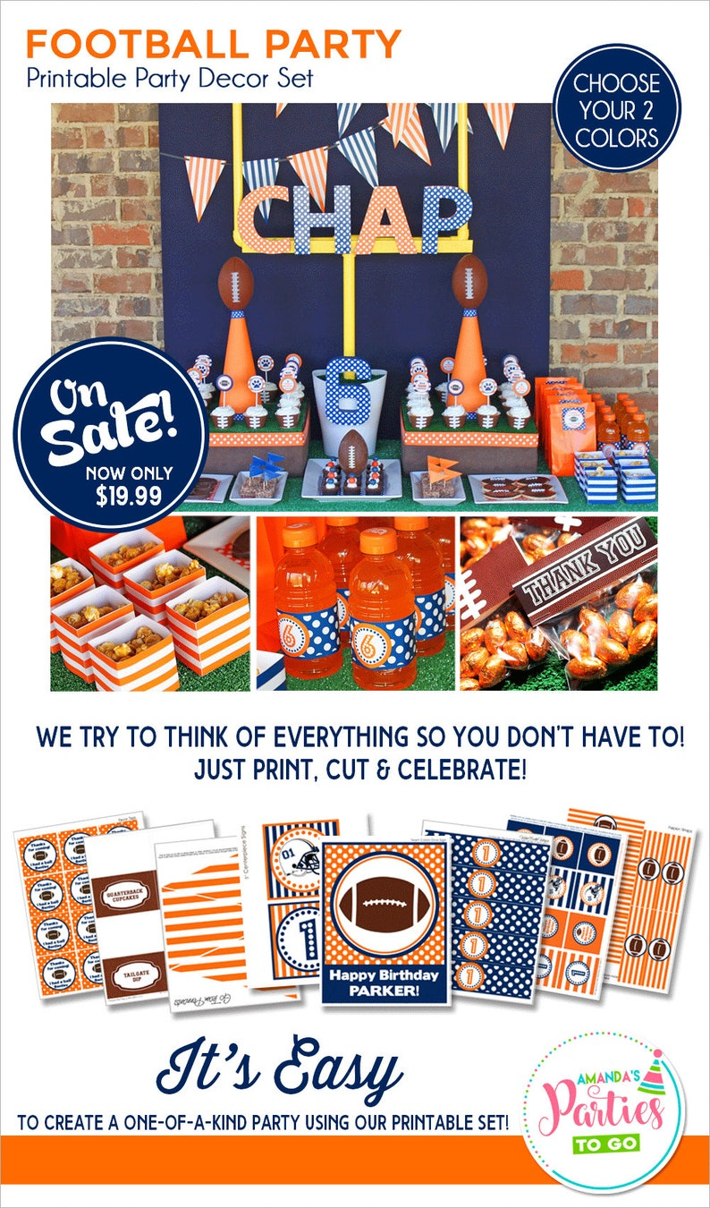 Football Birthday Party Football Party Decorations Printable image 0