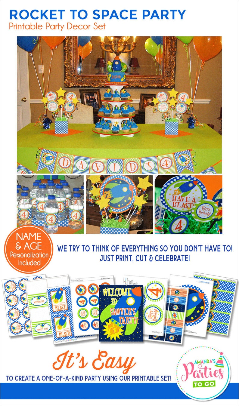 Space Birthday Decorations Space Party Printables Rocket image 0