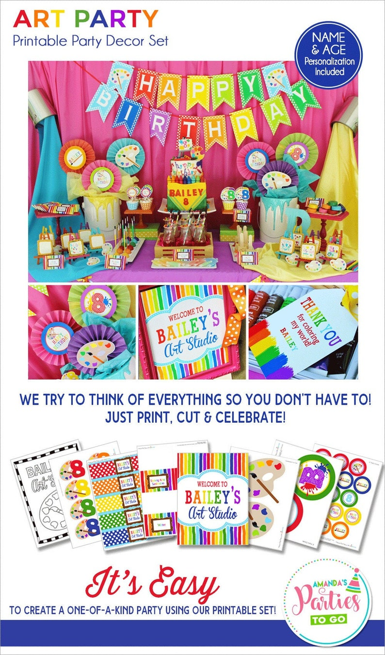 Art Birthday Party Printable Decorations Artist Party image 0
