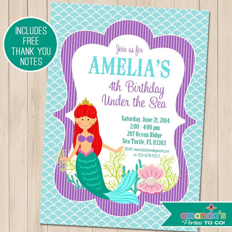 Mermaid Party Invitation Birthday