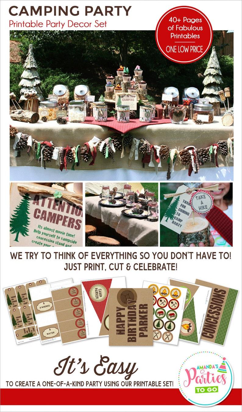 Camping Party Printables Camping Birthday Party Camping image 0