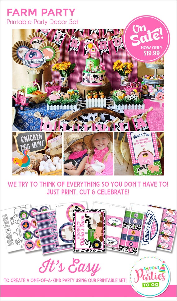 Farm Birthday Party Girl Decorations Printable