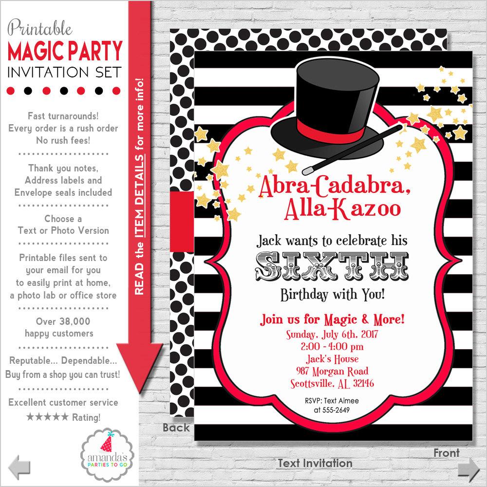 Magic Party Invitation Magic Birthday Invitation Magic | Etsy