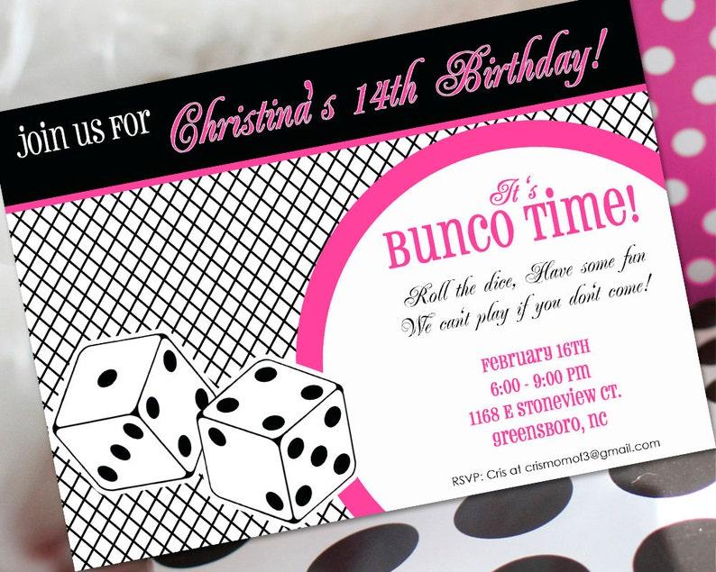 Bunco Birthday Invitation Bunco Invitation Bunco Birthday Etsy
