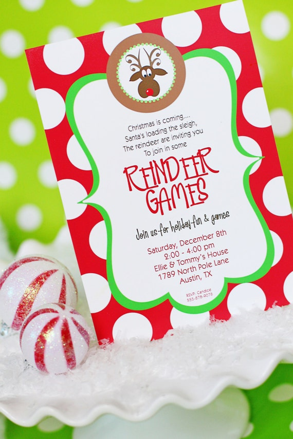 reindeer games invitation printable christmas party etsy