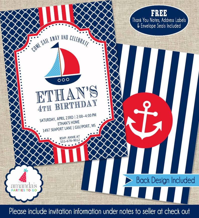 Nautical Party Invitation Birthday