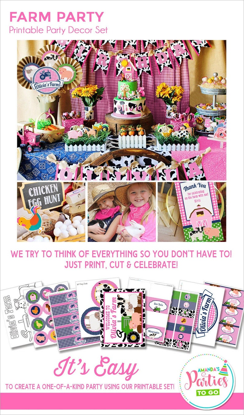 Farm Birthday Party Girl Farm Party Decorations Printable image 0