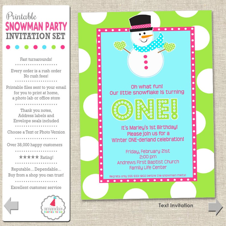 Winter ONEderland Invitation  Winter ONEderland Snowman Party image 0