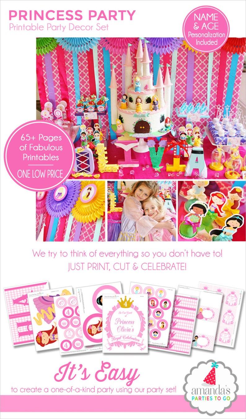 image regarding Princess Party Printable named Princess Bash Printable, Princess Birthday, Princess Get together Decorations, Cinderella, Belle, Ariel, Rapunzel, Amandas Functions Toward Move