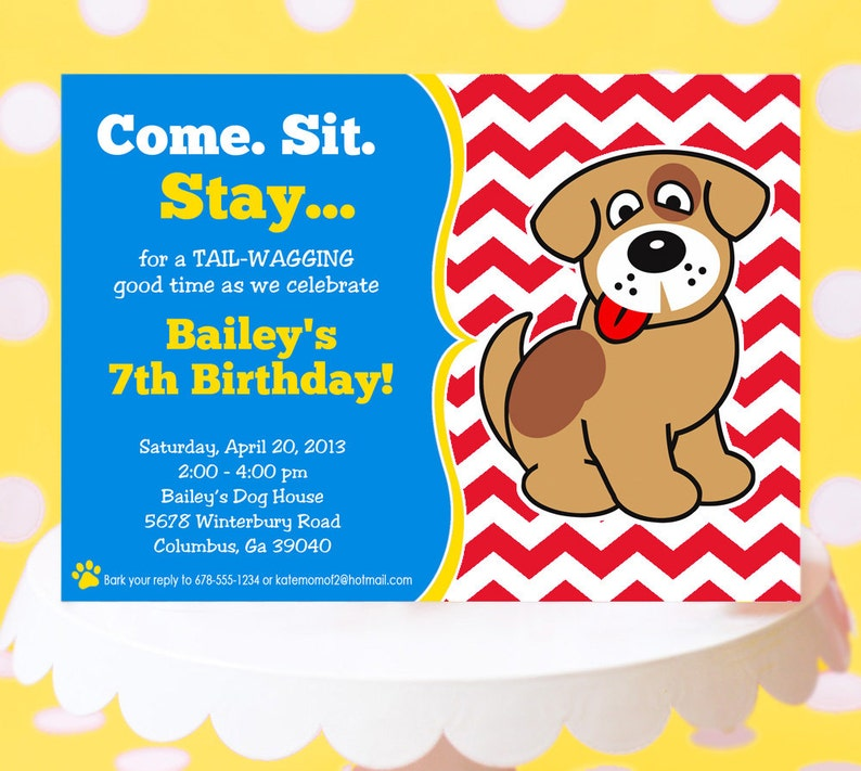 Puppy Party Invitation Birthday Printable