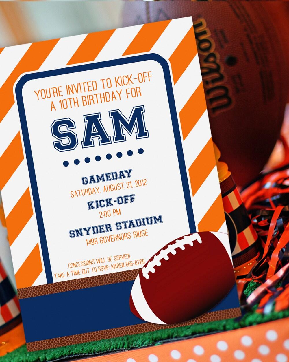 football party invitation football birthday invitation
