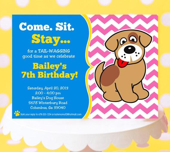 Puppy Party Invitation Birthday Dog