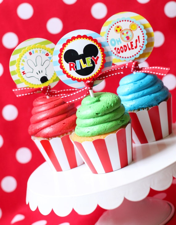 Pleasing Mickey Mouse Birthday Mickey Mouse Party Cupcake Toppers Birthday Cards Printable Riciscafe Filternl